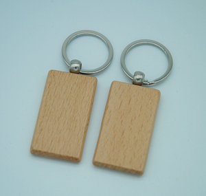 Image 3 - 60pcs Blank Rectangle Wooden Key Chain DIY Promotion Customized Wood Keychains Key Tags Promotional Gifts