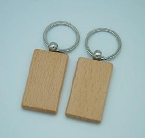 Image 3 - 60pcs ריק מלבן עץ מפתח שרשרת DIY קידום מותאם אישית עץ מחזיקי מפתחות מפתח תגיות קידום מכירות מתנות