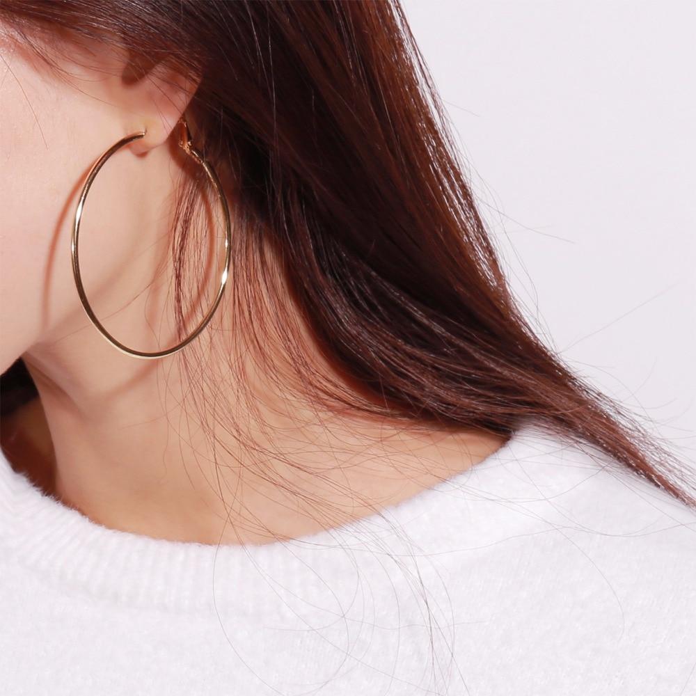 Fashion Simple Hoop Earrings Big Smooth Circle Earrings Basketball Brincos Loop Earrings for Women Jewelry