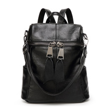 2017 Genuine leather women backpack style high capacity big zipper multifunction knapsack high quality travel cowhide