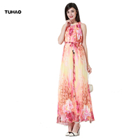 TUHAO Chiffon Pleated Spaghetti Strap Long Dress Female Sexy Oversize 6XL 7XL Sleeveless Casual Halter Summer Vestidos CM28