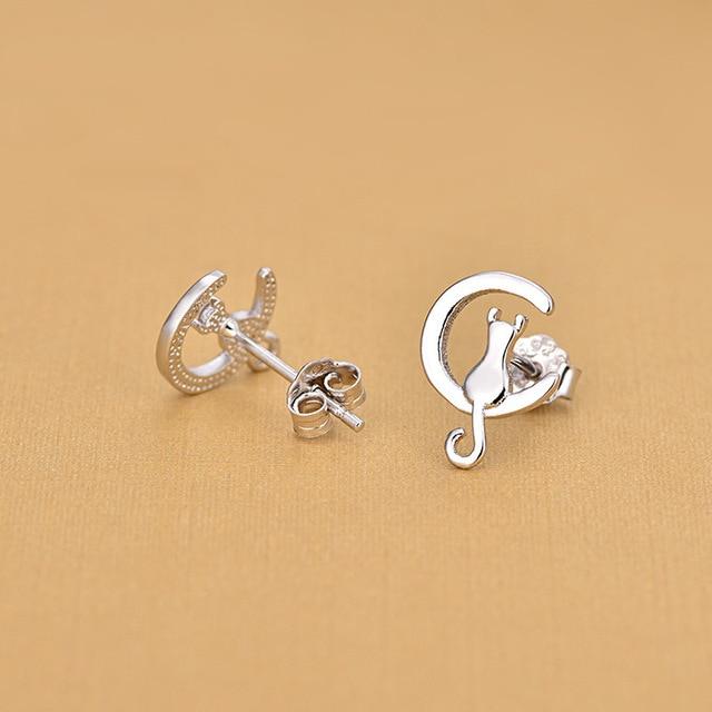 Женские серьги гвоздики с серебряным покрытием moon & cat модные
