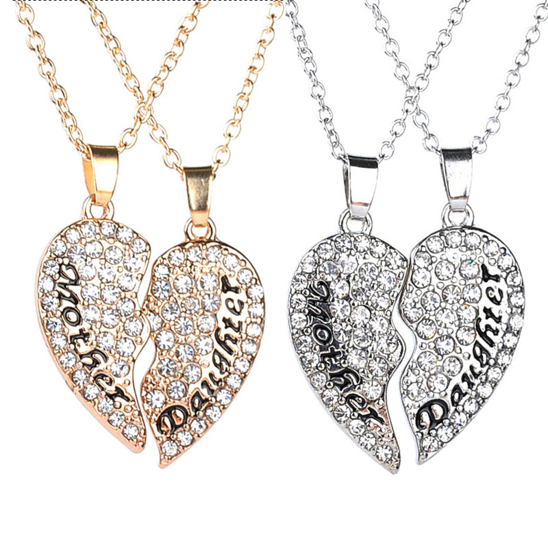 2016 Mother s Days Gifts Fashion Luxury Full Rhinestone Loving Heart Shaped 2 Parts Necklace Mother