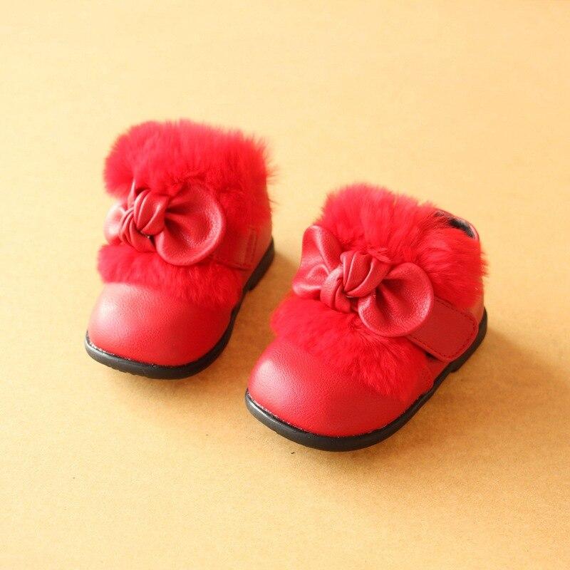 Размер 15-19 2018 зимние для маленьких девочек Снегоступы милые Мех животных Бабочка-узел для маленьких Обувь детские модные ботинки