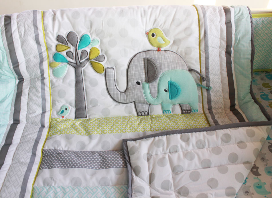 Aliexpress Com Buy 7 Pcs Cute Elephant Baby Bedding Set