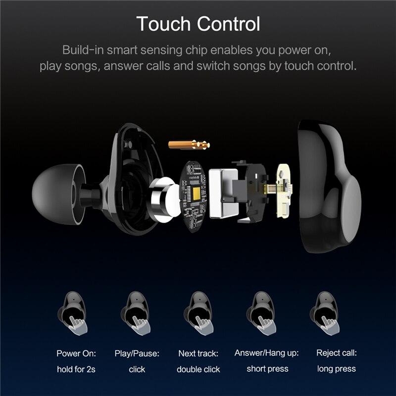 ROCK Mini TWS Vrai bluetooth sans fil Écouteurs Stéréo casque de sport Avec Boîte De Charge Micro Intra-auriculaires Pour iPhone XS MAX Xiaomi - 3
