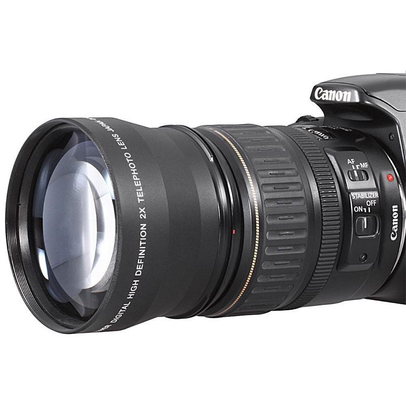 Professional 52mm 2x Magnification Telephoto Tele Lens for Nikon D5100 D3200 D70 D40 Digital Cameras