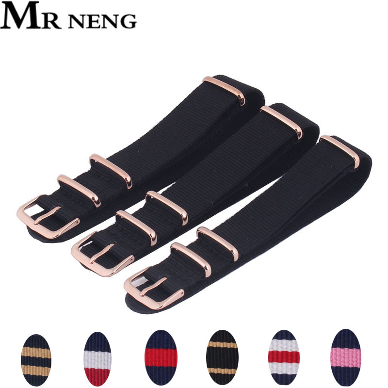 MR NENG Watchband 18 20MM 22mm nato strap Rose gold buckle nato straps Watch band watch strap 9colors Choose strap on for hours