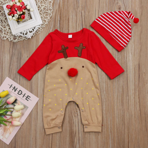 все цены на Christmas Baby Girls Clothing Baby Boy Girl Long Sleeve Fall Romper Patchwork Jumpsuit +Hat 2Pcs Xmas Clothes Outfits