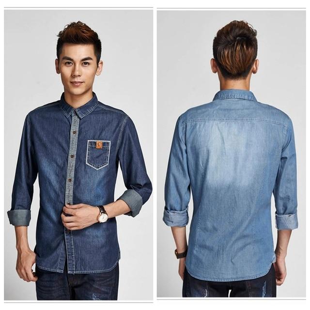 515ea0e557d Stylish Pocket Men Dress Shirt Light/Dark Blue Casual Shirt Jean Shirt  Figure Flattering Size M-XXL