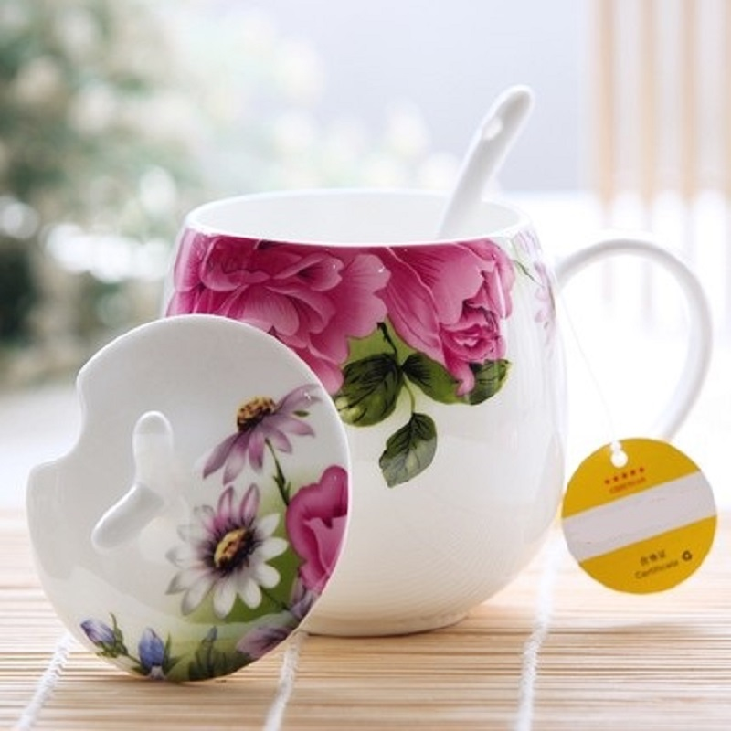 Bone china ceramic cup with cover spoon creative couple coffee cups mug milk breakfast tools as practical christmas gift