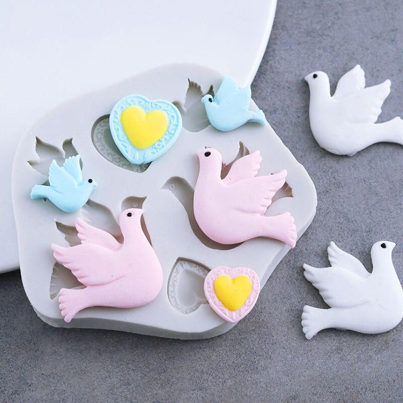 5 Birds Silicone Fondant Mold Cake Sugarcraft Decorating Chocolate Mould UK