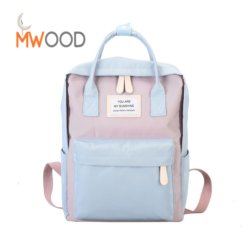 Moon Wood Women School Backpacks Fashion Preppy Panelled Candy Color Bags Teenager Leisure Sweet Travel Laptop Shoulder Bagpack