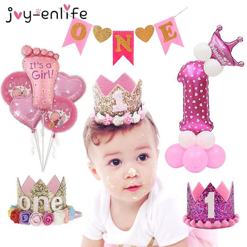 JOY-ENLIFE, 1 año de decoración de fiesta de cumpleaños, Chico, corona de princesa, primer cumpleaños, primer cumpleaños de niña y niño, 1 cumpleaños, Baby Shower