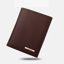 Short wallet men's business embossed personality two fold horizontal and vertical wallet open business soft surface PU leather