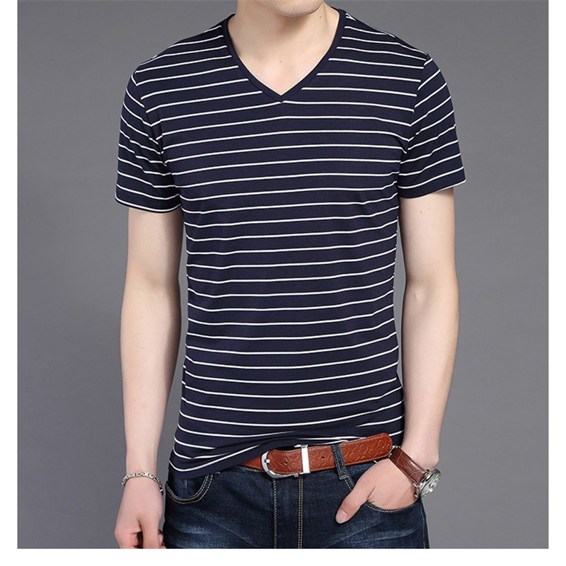 Liseaven New Men V Neck Striped T-shirt Short Sleeve tshirt Fashion Men's tees Clothing 8
