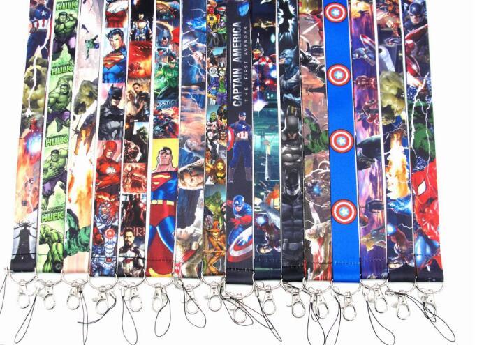 250 Pcs Populaire avengers superman batman Neck Bandjes Lanyards Id kaart, vrouwen sleutelhanger kids party gifts-in Sleutelhangers van Sieraden & accessoires op  Groep 2