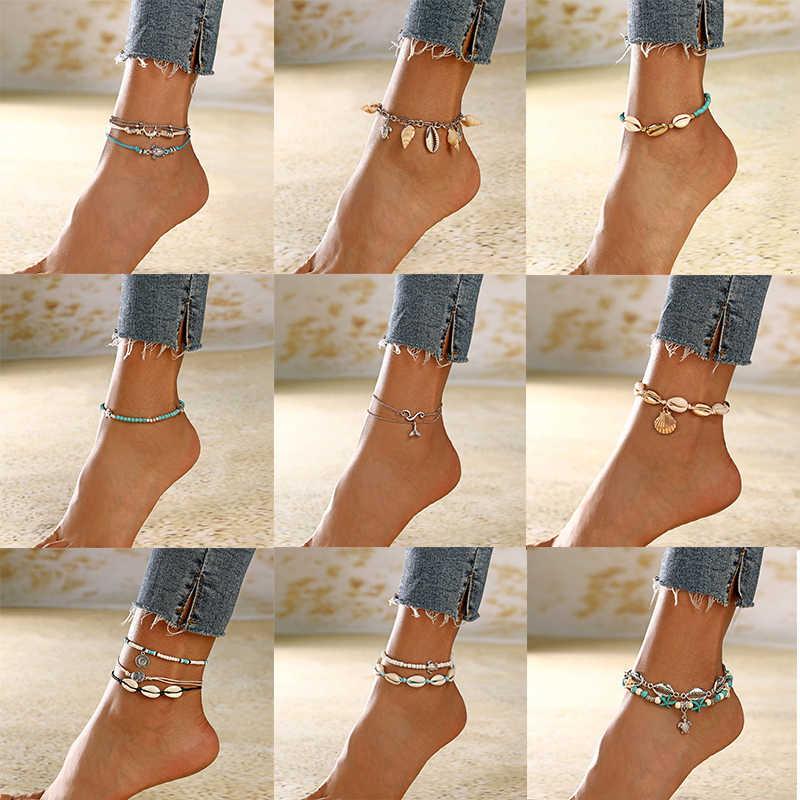 XIYANIKE 19 Style Summer Shell Pendant Anklets For Women New Stone Beads Anklet Bohemian Bracelets On Leg BOHO Ocean Jewelry