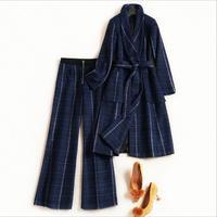 Шерстяной плед комплект из 2 частей Для женщин широкие брюки костюм комплект осень Для женщин ветровка зимние Тренч Casaco Feminino