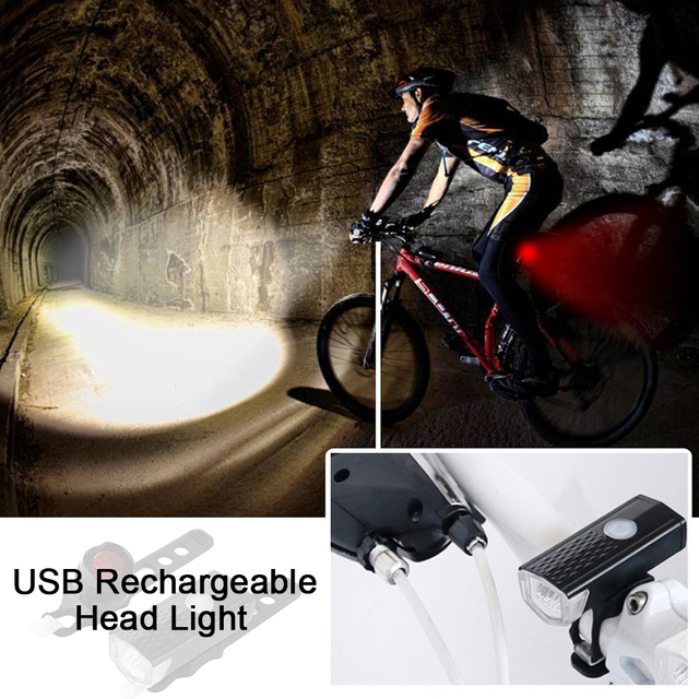 Aubtec 300LM Rechargeable USB LED Bicycle Flashlight Lamp Bike Front Light 3 Mode