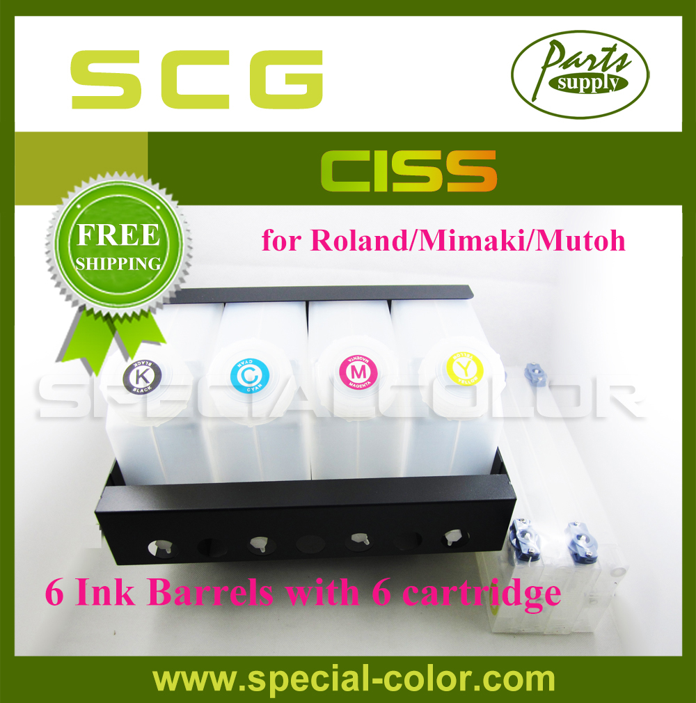 Free Shipping Compatible Ink Supply Mutoh Six Color Printer CISS (6*6 tanks) pa 1000ds printer ink damper for roland rs640 sj1045ex sj1000 mutoh rh2 vj1604 more