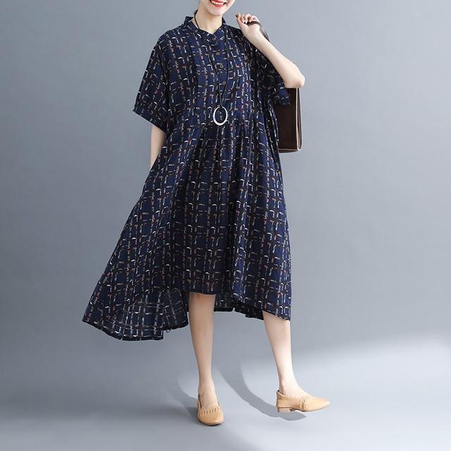 Ladys Fashion Plus Size Cotton&Linen Big pocket Jumper Plaid Casual Dress Summer Lagenlook Short Sleeve Checkered Tunic Dress 2