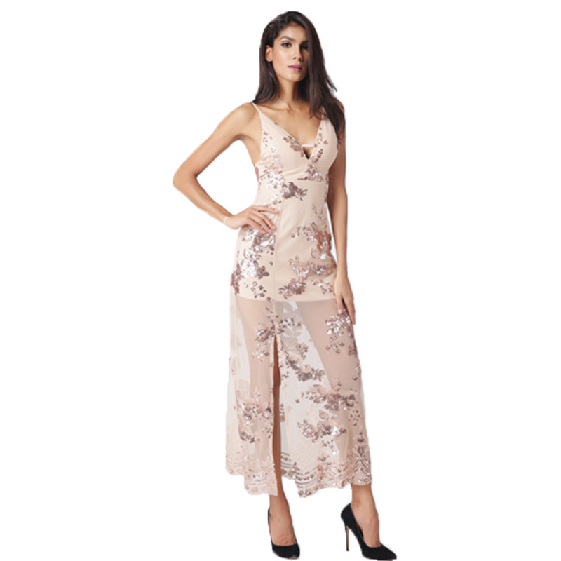 Toplook Heavy Metal Longue Robe Paillettes Franges Parti Robe Femmes Sexy Fente Rencontres Perspective Halter de