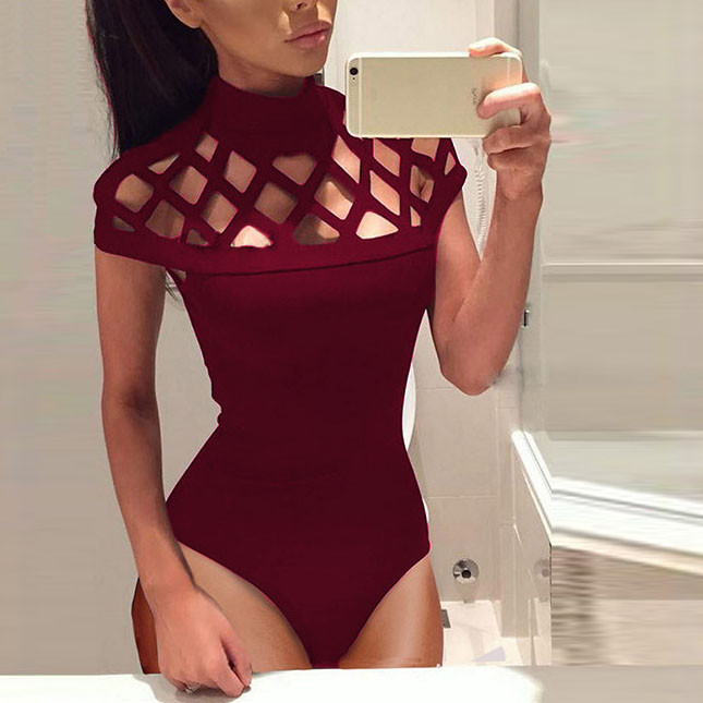 Women Choker High Neck Bodycon Caged Sleeves   Jumpsuit   Bodysuit Tops Women skinny black sexy high waist causal Rompers #H