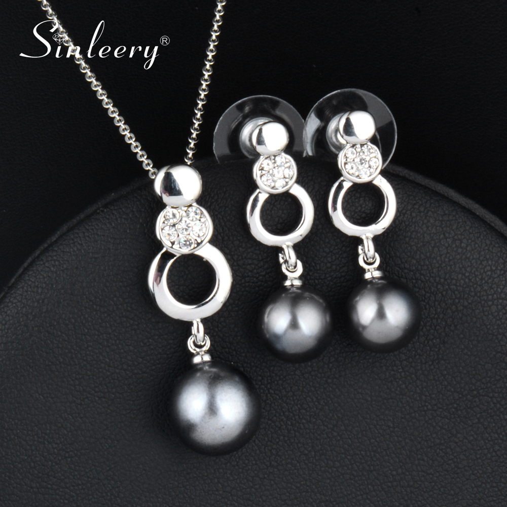 SINLEERY 2018 Women Wedding Fashion Imitation Pearl Jewelry Set Necklace Earring Set For Bridal Accessories TZ056