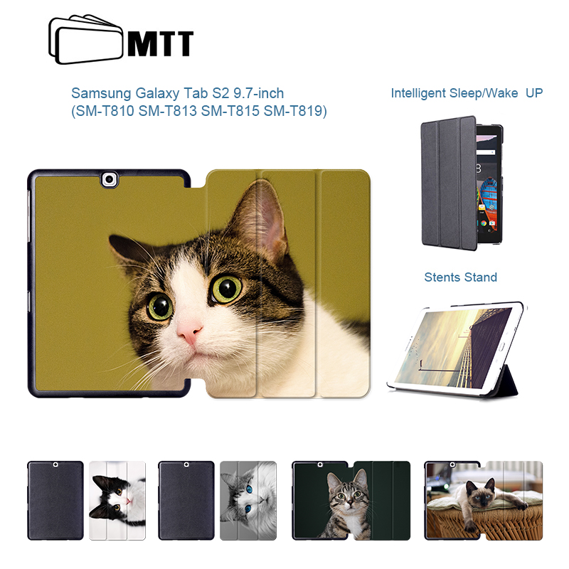 Cute Pet Cats Print PU Leather Tab S2 SM-T810 T813 T815 T819 Case Smart Stand Cover For Samsung Galaxy Tab S2 9.7 Tablet Case for tab s2 sm t810 kids safe shockproof heavy duty silicone hard case cover for samsung galaxy tab s2 9 7 t810 t815 hand hold