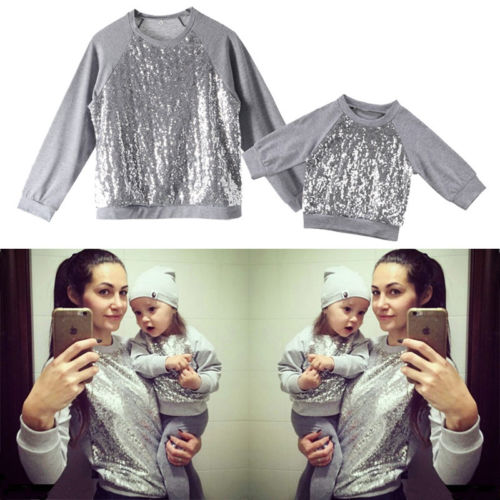 Women Kids Baby Girls Sequin Top T shirt Blouse Sweatshirt Casual Clothes  Silver Family Matching-in Matching Family Outfits from Mother   Kids on ... 6a93f6283222