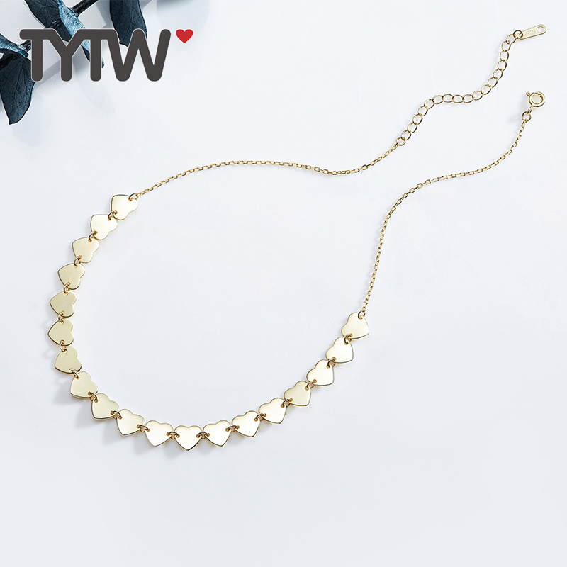 TYTW pure S925 sterling silver real goldplated elegant women choker necklace girls fashion choker hip hop necklace pure color velvet six pieces thin choker necklace