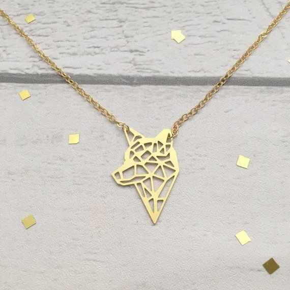 NianDi Geometric Gold & Silver Necklace Wolf Pendant Necklace Wolf Jewelry Collar de lobo Children's Gift Drop Shipping YLQ7106