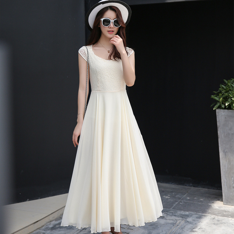 yauamdb women dress 2017 spring summer S 2XL Chiffon ladies short sleeve  Solid long dress slim Bohemia Beach clothes y68-in Dresses from Women s  Clothing on ... f9200ee49865