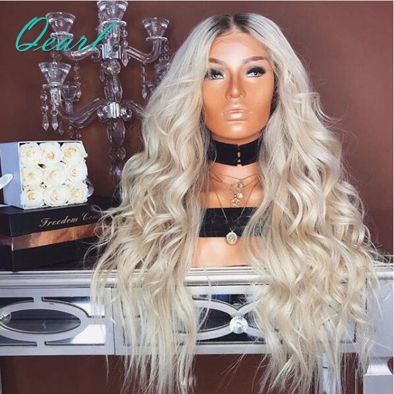180 Density Full Lace Human Hair Wigs Ombre 1B 613 Dark Roots Remy Hair Loose Wave