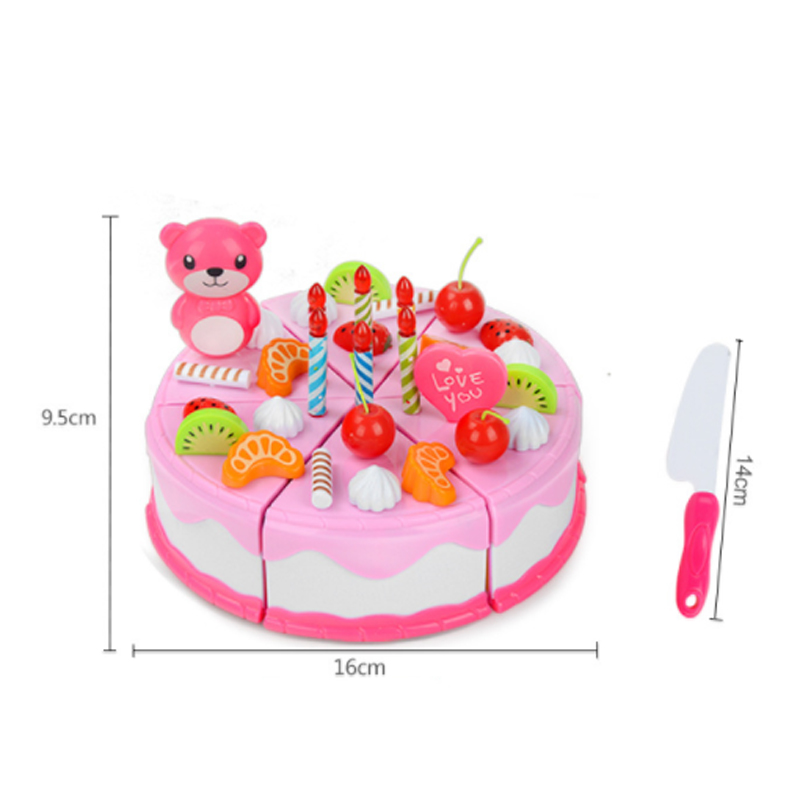 Home & Garden Rapture Diy 37pcs Cake Toy Food Kitchen Pretend Play Cutting Fruit Birthday Toys Cocina De Juguete Pink Blue For Kid Gift Educational Event & Party