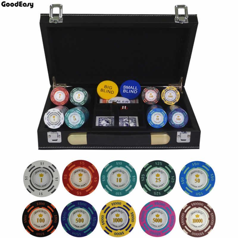 200/300/400/500 шт./компл. доллар покер чип глина казино фишки Техасский Холдем покерные комплекты с ПУ-кожаный чемодан и скатерть