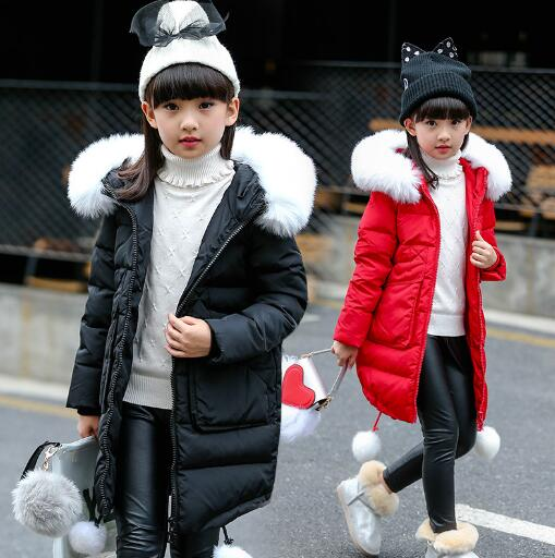 Girls Winter Jackets 2018 New Fashion Winter Thicken Hooded Long Girl down Cotton Jacket Children Coat Outerwear Parkas