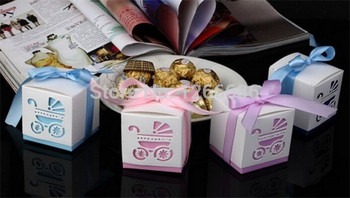200pcs Square Candy Box  Baby Carriage  Shower Paper Candy Box With Ribbon