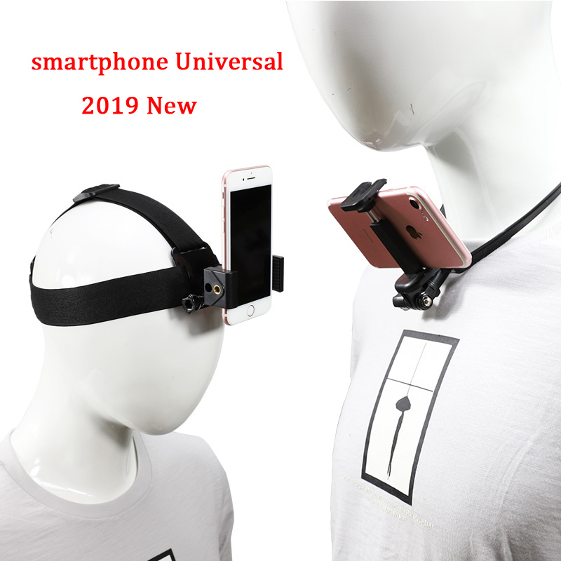 For Iphone Huawei Xiaomi head fixed first angle shooting bracket Mount head-mounted hanging neck mobile phone holder Accessories