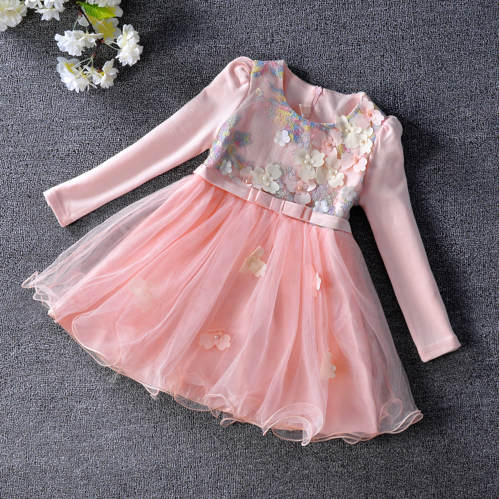 2017 spring style lace sleeves tulle tutu girl dress baby