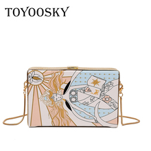 TOYOOSKY 2018 New Abstract Clutch Women Messenger Bag Fashion Box Chain Shoulder High Quality PU Leather Lady Crossbody bag