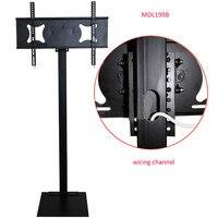 32-70 polegada LCD LED Monitor de TV de Plasma de Montagem Suporte de Chão de Exibição do ANÚNCIO de Inclinação Giratória Altura Regulável De Gerenciamento De Arame