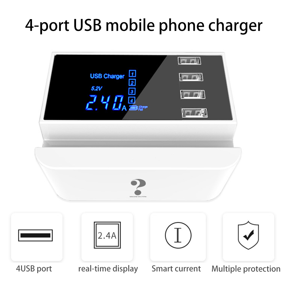 4 Port USB Multiple Charger 5V 4A Desktop Multi Wall for Cell Phone Tablet Plug EU US UK