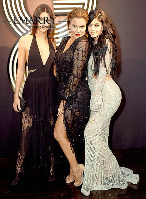 Kylie Jenner Luxury Crystal Beading Mermaid Celebrity Dress Sexy Open Back Full Sleeves Long Evening Dress Red Carpet Dress 1