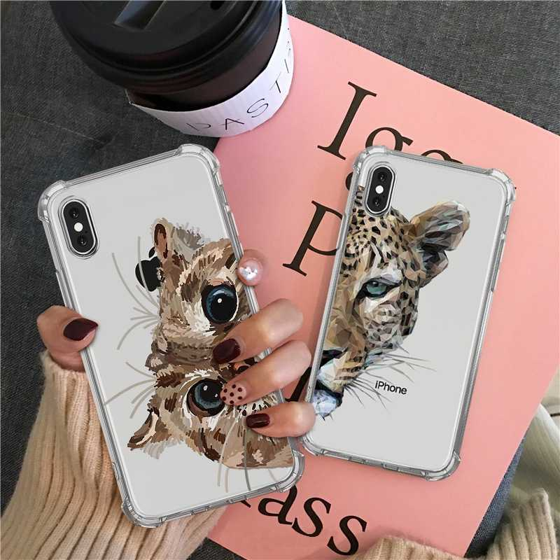 Luxe Airbag Case Voor iPhone 11 pro max 7 8 6 s plus xs max x xr Case Transparant Soft siliconen Luipaard Shiba Inu Back Cover
