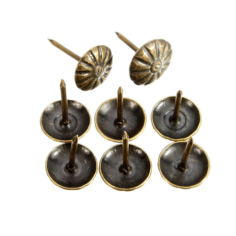 MTGATHER 100pcs Antique Brass Upholstery Nail Jewelry Gift
