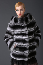 Women Real Rex Rabbit Fur Coat Chinchilla-like Striped Jacket Big Fur Collar Outwear Thick Overcoat with Pockets Winter AU00629
