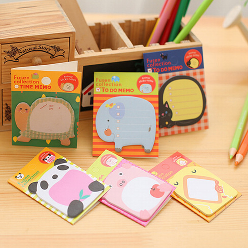 Wholesale 800PC N Times Cute Animal Post It Kawaii Sticky Notes 8Kinds Pattern Memo Pad Korean Stationery Office School Supplies