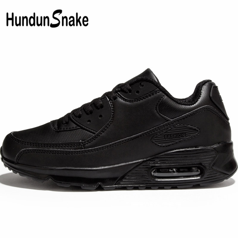 Hundunsnake Air Cushion Krasovki Men Autumn Leather Sport Shoes For Men Black Women Sneakers For Men Trainers Footwear Walk G-28